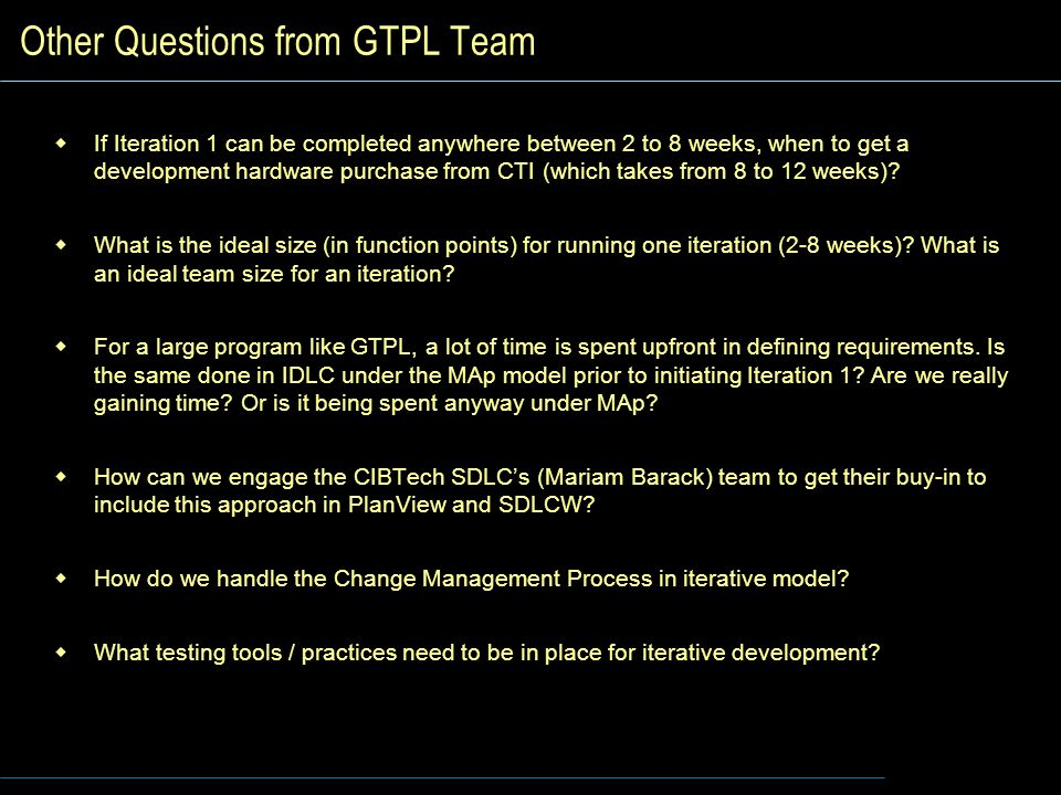 Other Questions from GTPL Team
