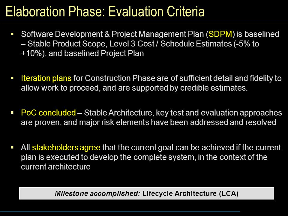 Elaboration Phase: Evaluation Criteria