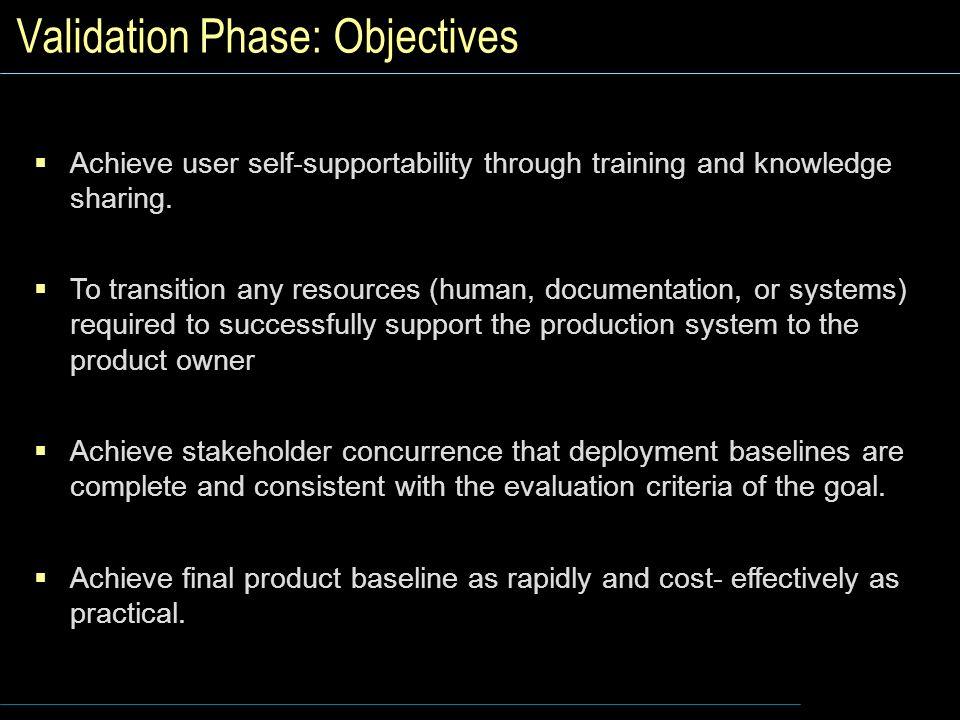 Validation Phase: Objectives