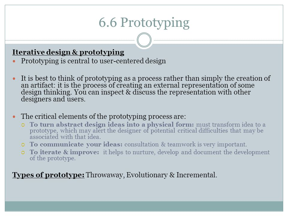 6.6 Prototyping Iterative design & prototyping