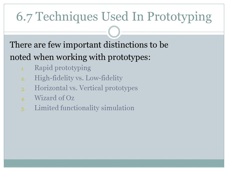6.7 Techniques Used In Prototyping