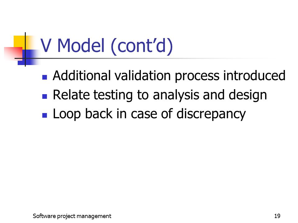V Model (cont'd) Additional validation process introduced