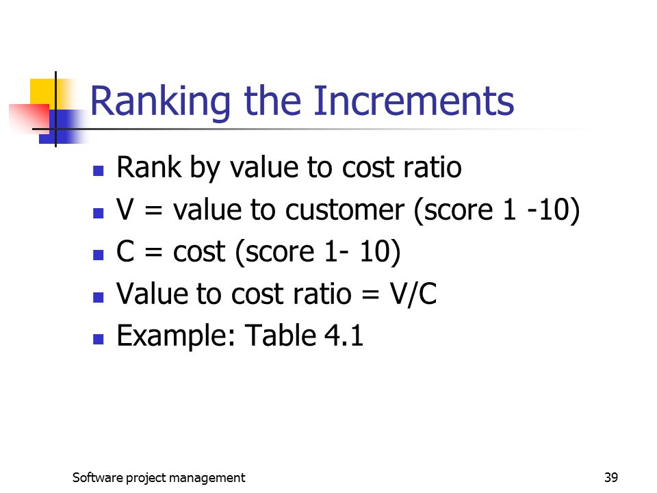 Ranking the Increments