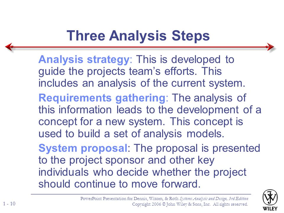 Three Analysis Steps Analysis strategy: This is developed to guide the projects team's efforts. This includes an analysis of the current system.