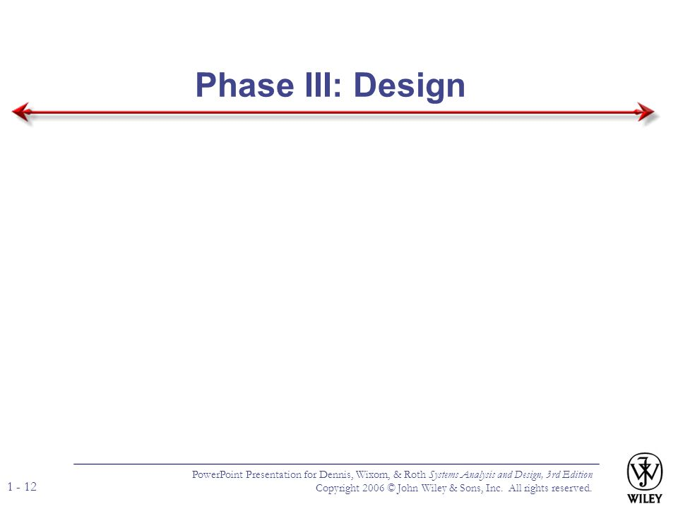 Phase III: Design PowerPoint Presentation for Dennis, Wixom, & Roth Systems Analysis and Design, 3rd Edition.