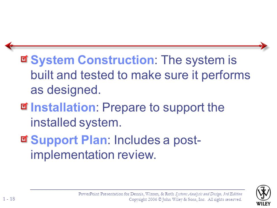 Installation: Prepare to support the installed system.
