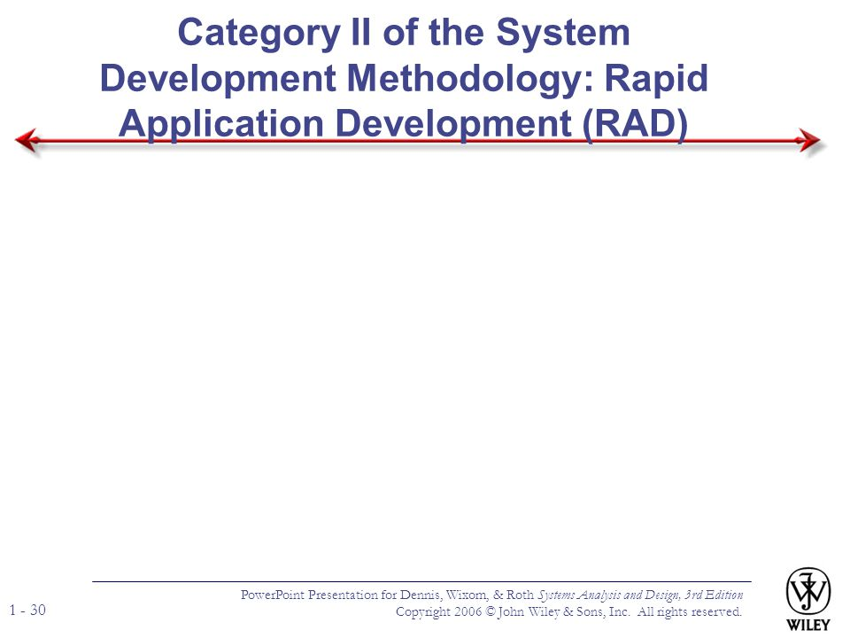 Category II of the System Development Methodology: Rapid Application Development (RAD)