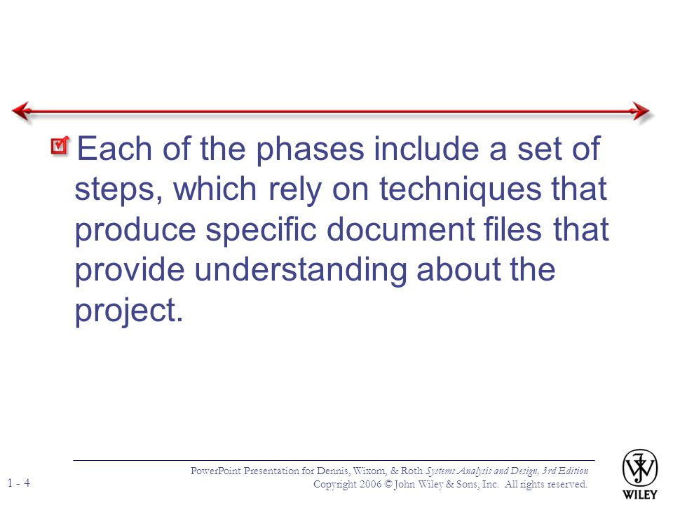 Each of the phases include a set of steps, which rely on techniques that produce specific document files that provide understanding about the project.