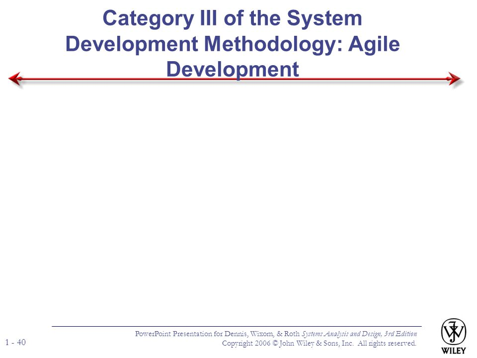 Category III of the System Development Methodology: Agile Development