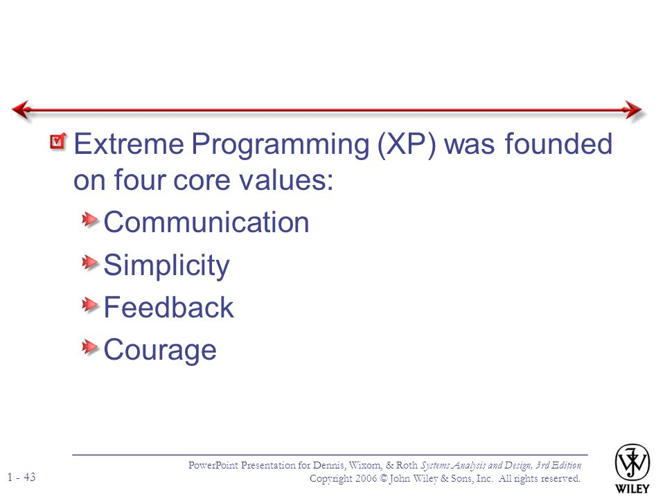 Extreme Programming (XP) was founded on four core values: