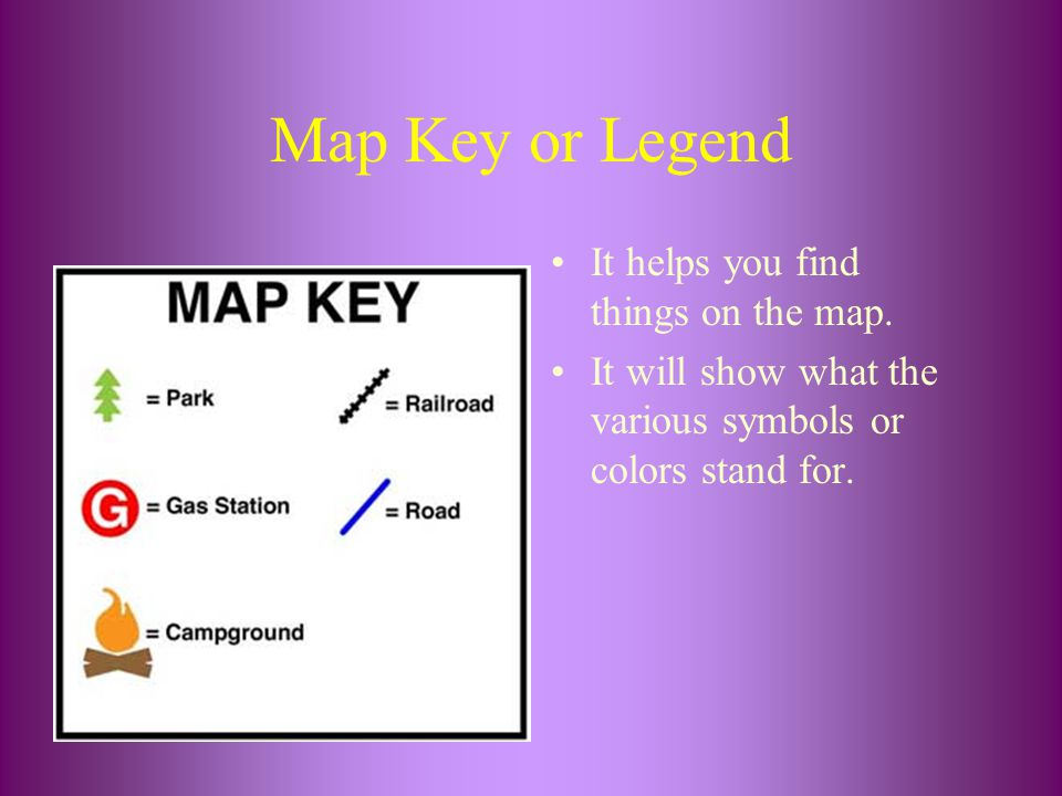 Map Key or Legend It helps you find things on the map.