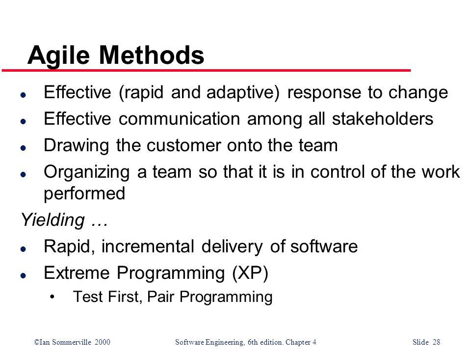 Agile Methods Effective (rapid and adaptive) response to change