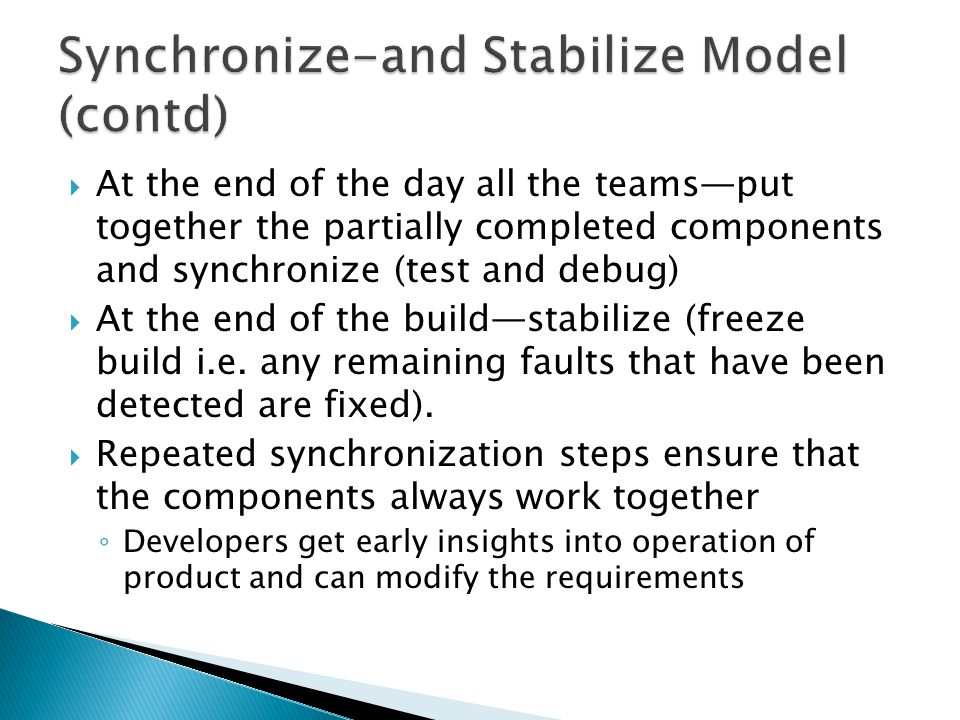 Synchronize-and Stabilize Model (contd)