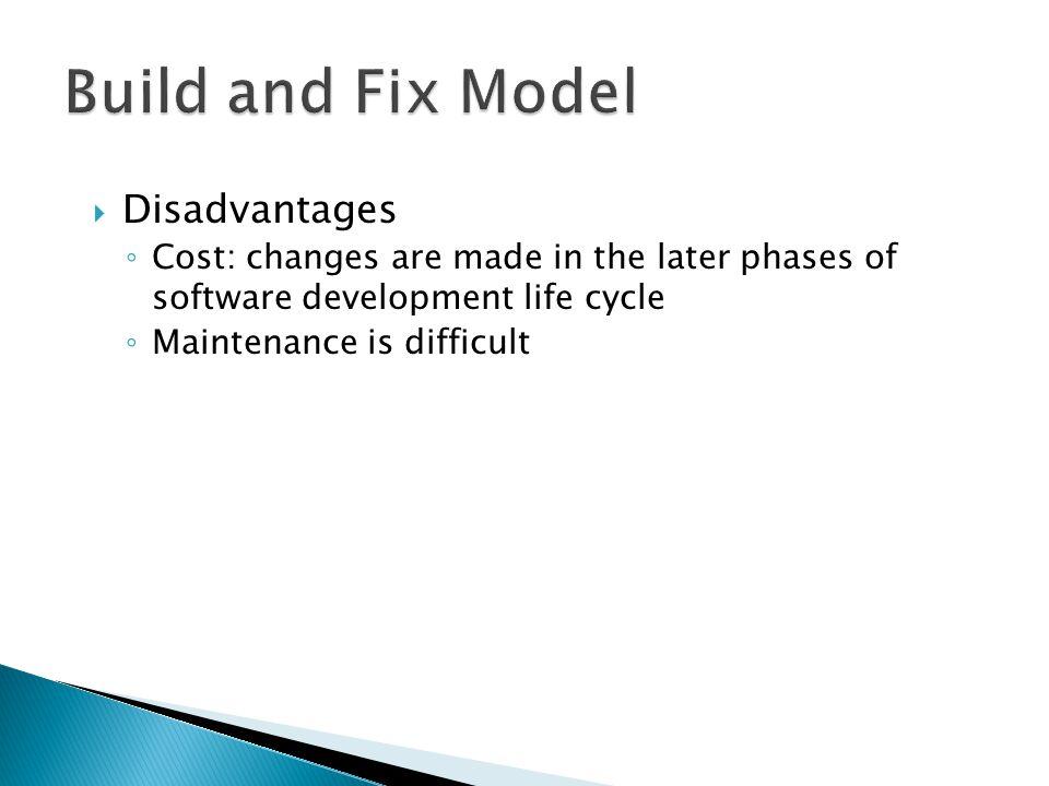 Build and Fix Model Disadvantages