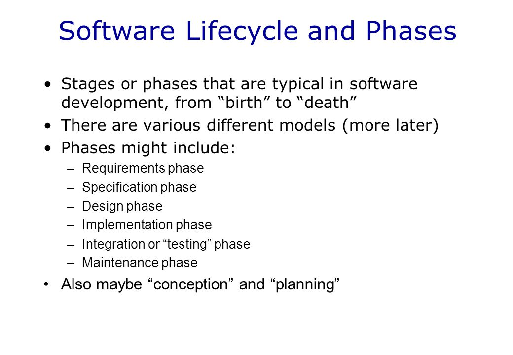 Software Lifecycle and Phases