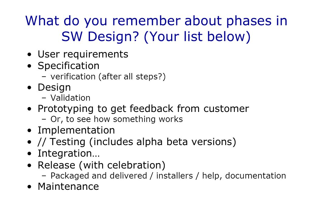 What do you remember about phases in SW Design (Your list below)