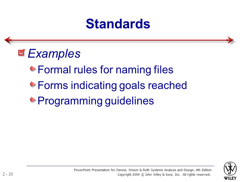 Standards Examples Formal rules for naming files