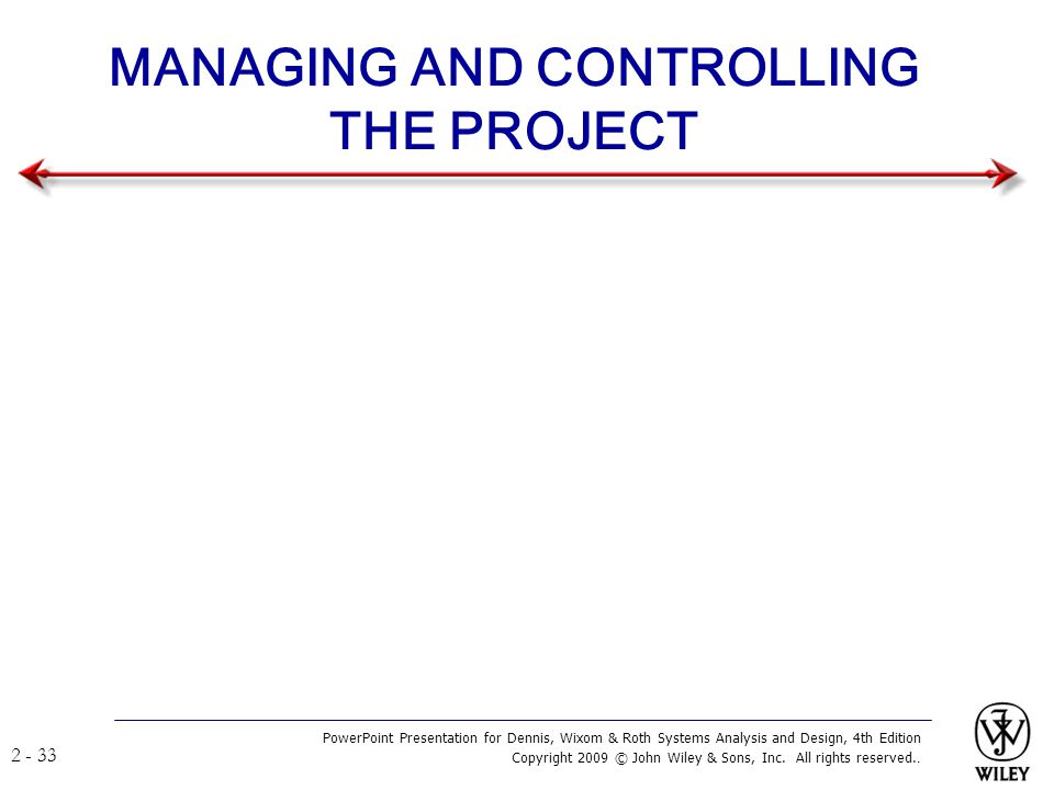 MANAGING AND CONTROLLING THE PROJECT