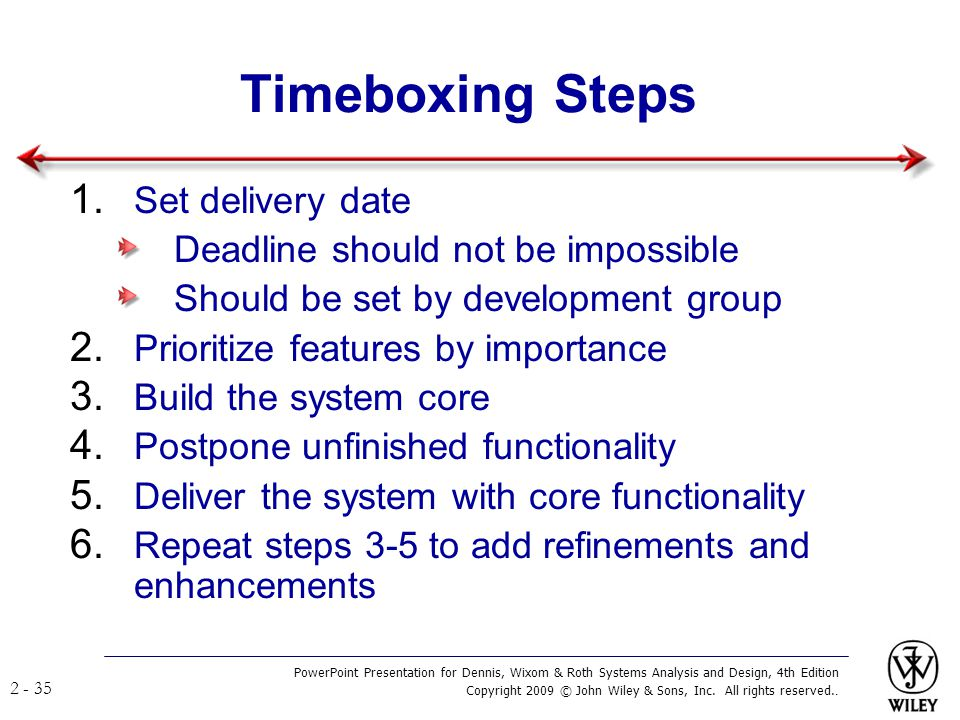 Timeboxing Steps Set delivery date Deadline should not be impossible