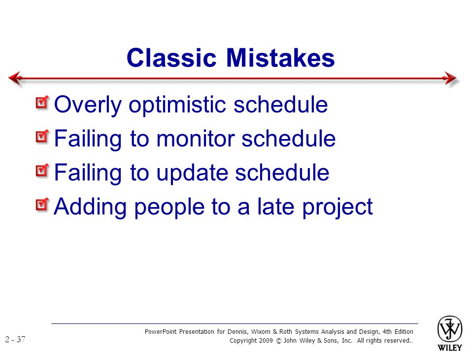 Classic Mistakes Overly optimistic schedule
