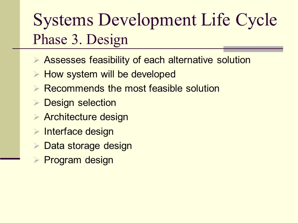 Systems Development Life Cycle Phase 3. Design