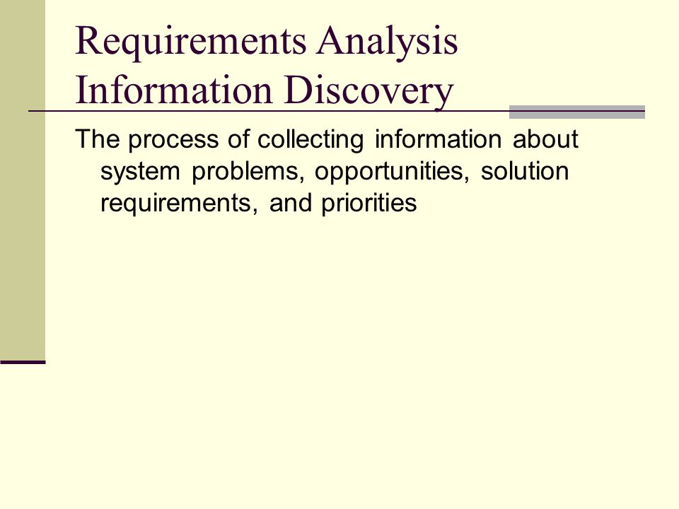 Requirements Analysis Information Discovery