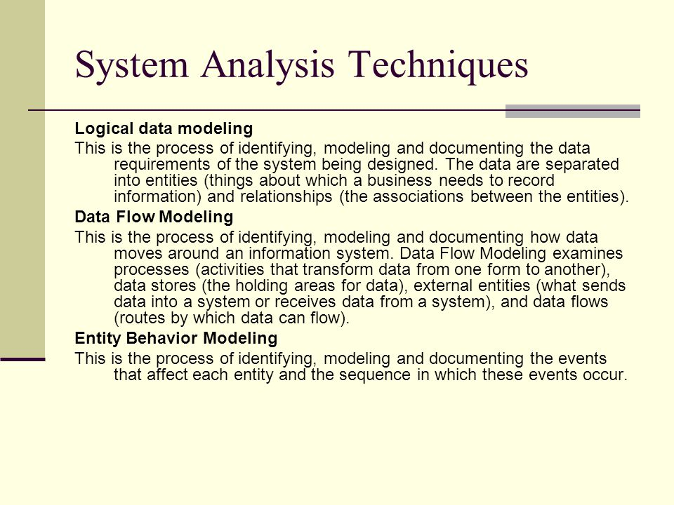 System Analysis Techniques