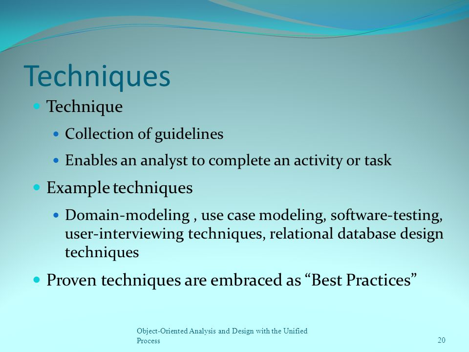 Techniques Technique Example techniques