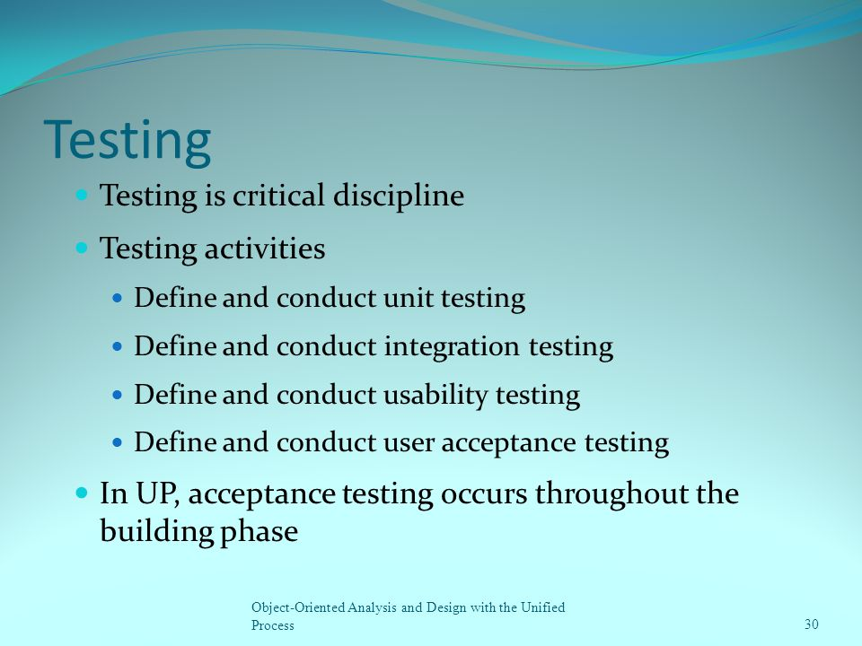 Testing Testing is critical discipline Testing activities