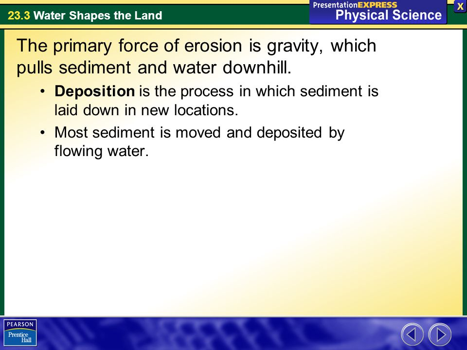 The primary force of erosion is gravity, which pulls sediment and water downhill.