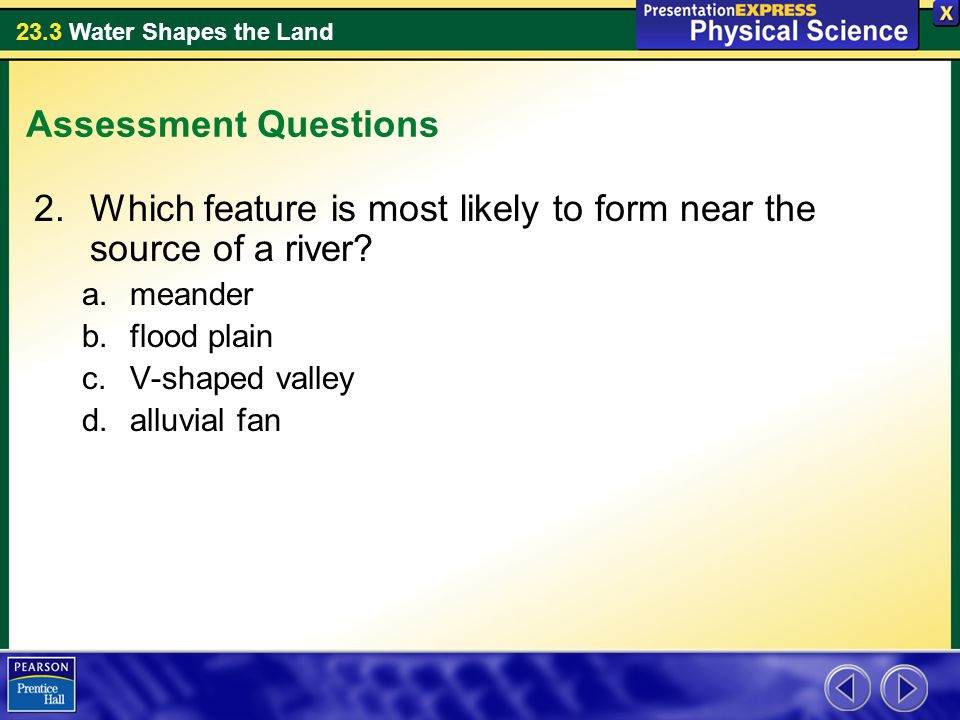Which feature is most likely to form near the source of a river