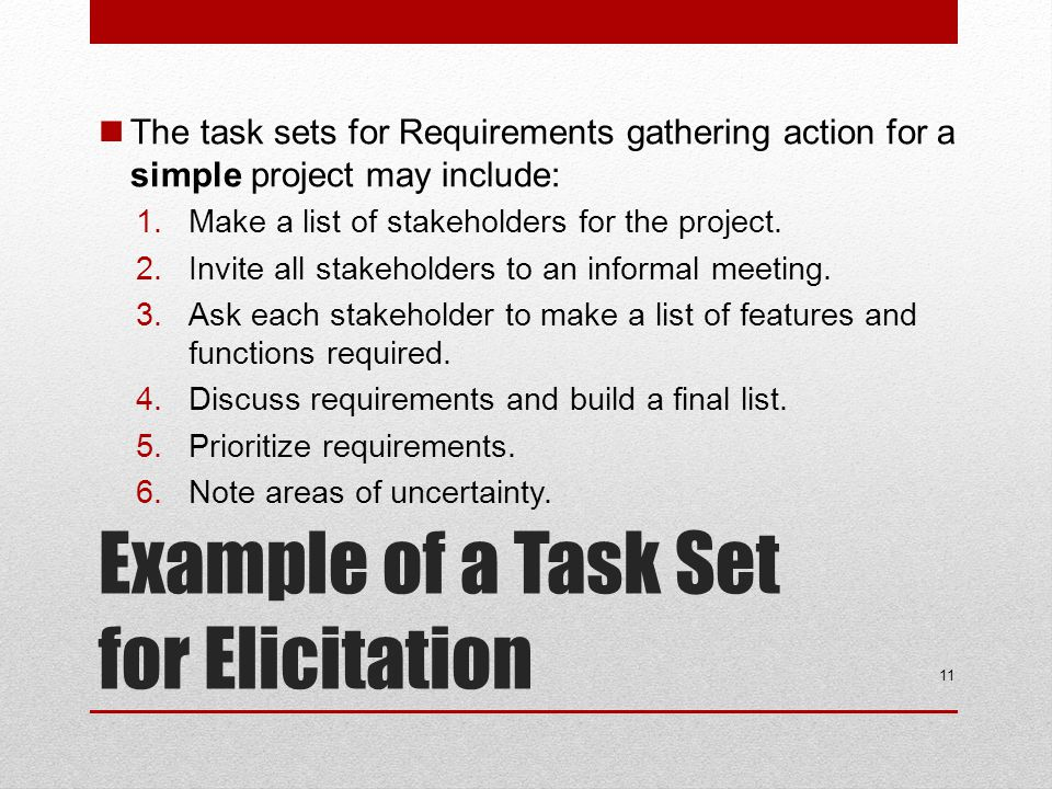 Example of a Task Set for Elicitation