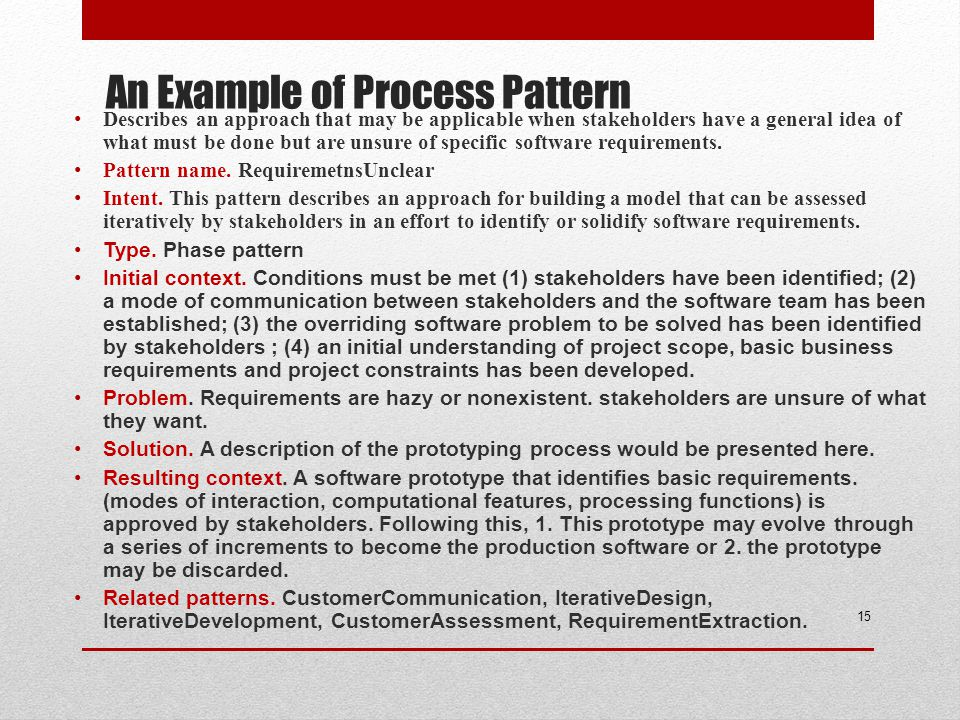 An Example of Process Pattern