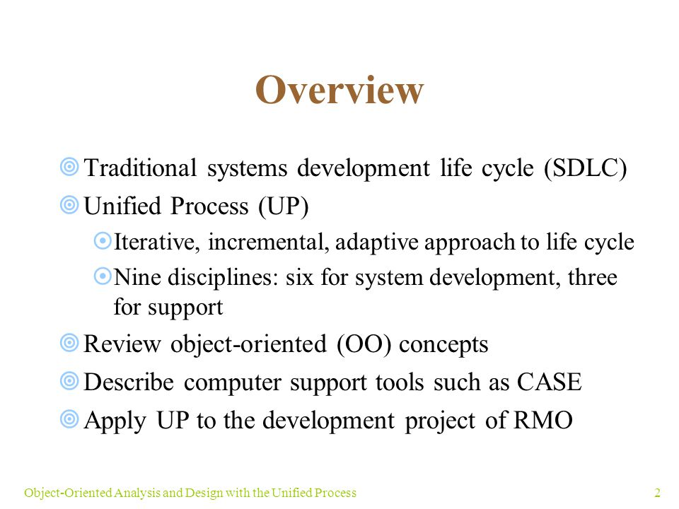 Overview Traditional systems development life cycle (SDLC)