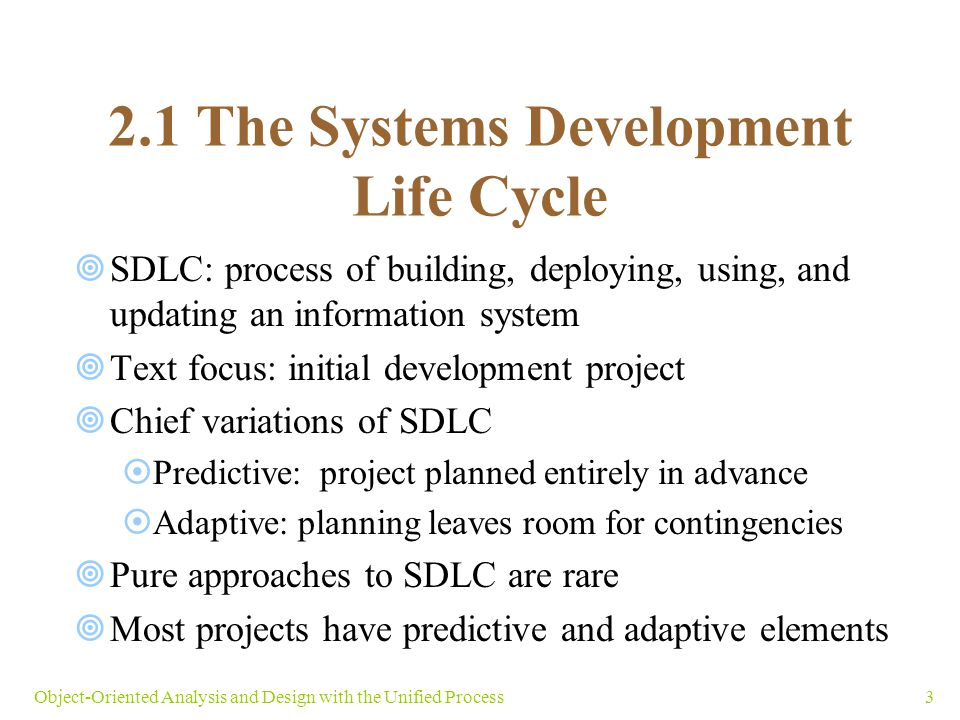 2.1 The Systems Development Life Cycle
