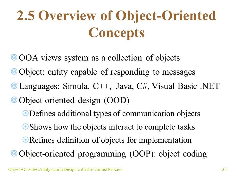 2.5 Overview of Object-Oriented Concepts