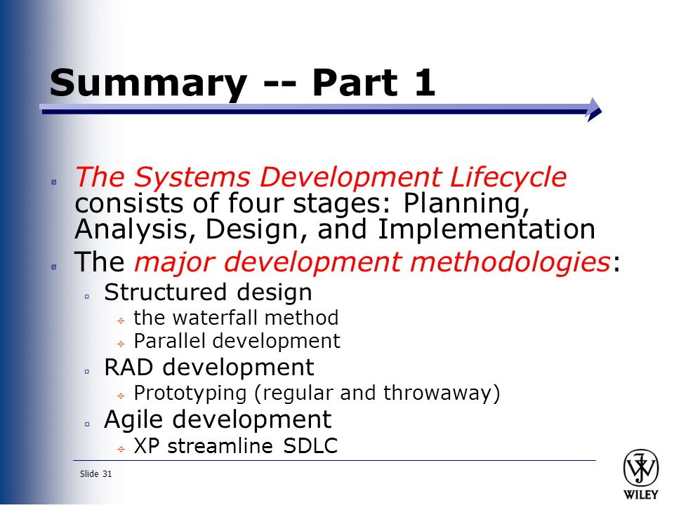 Summary -- Part 1 The Systems Development Lifecycle consists of four stages: Planning, Analysis, Design, and Implementation.