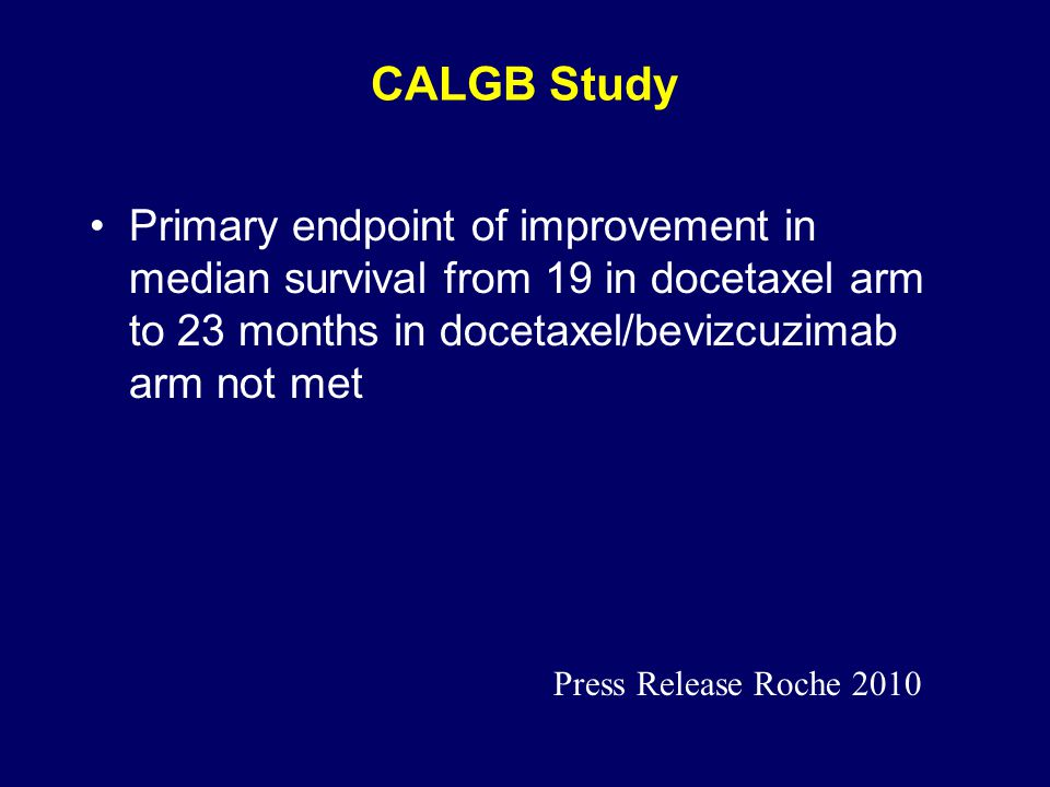 CALGB Study Primary endpoint of improvement in median survival from 19 in docetaxel arm to 23 months in docetaxel/bevizcuzimab arm not met.