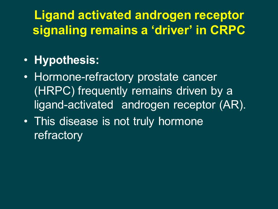 Ligand activated androgen receptor signaling remains a 'driver' in CRPC