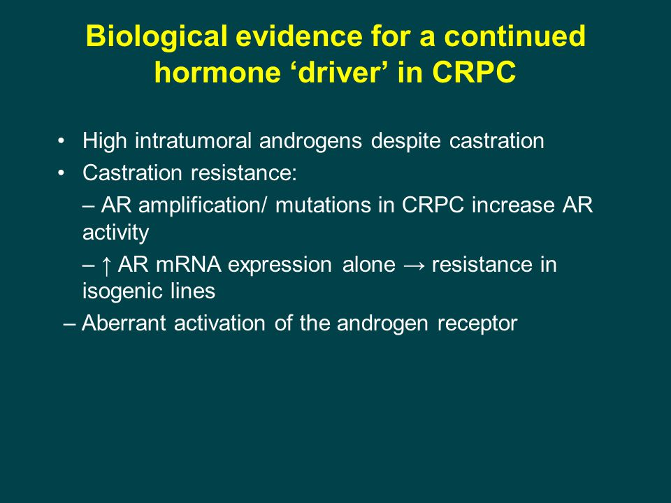 Biological evidence for a continued hormone 'driver' in CRPC