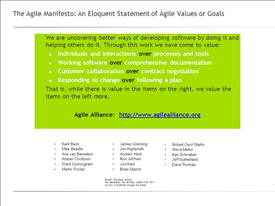 The Agile Manifesto: An Eloquent Statement of Agile Values or Goals