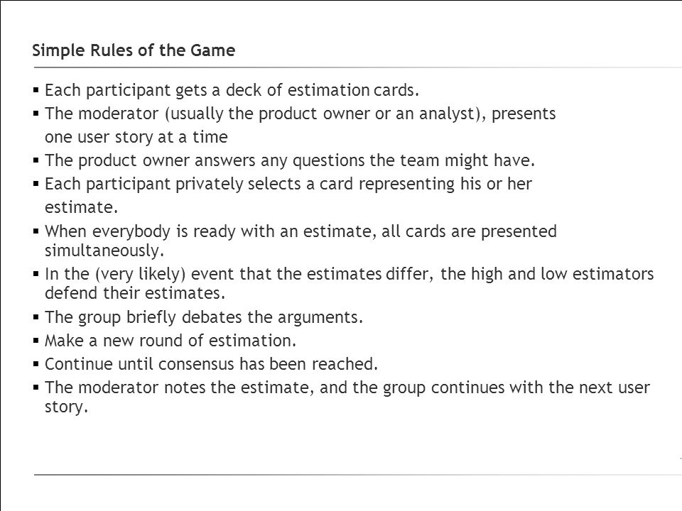Simple Rules of the Game