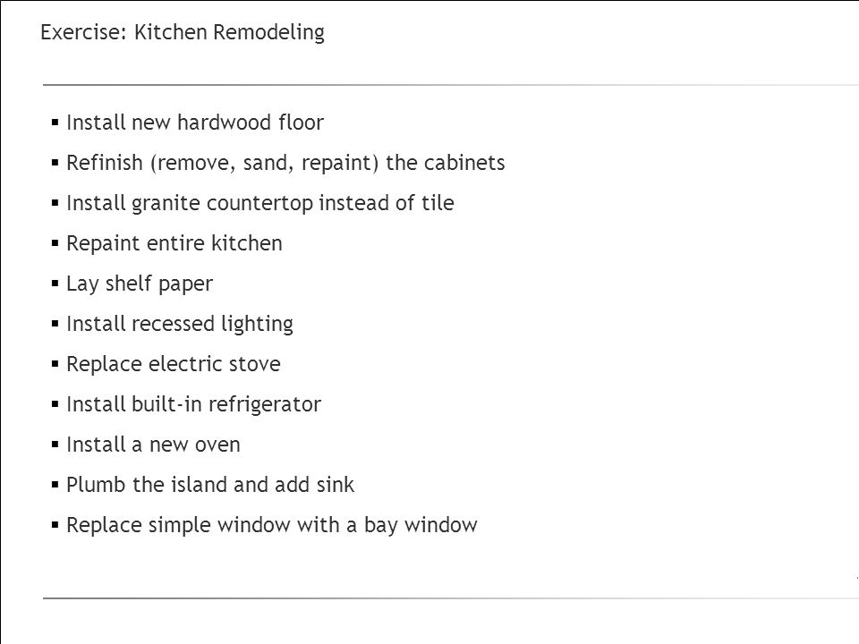 Exercise: Kitchen Remodeling