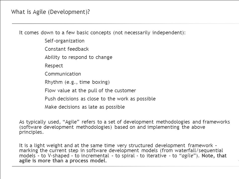 What is Agile (Development)