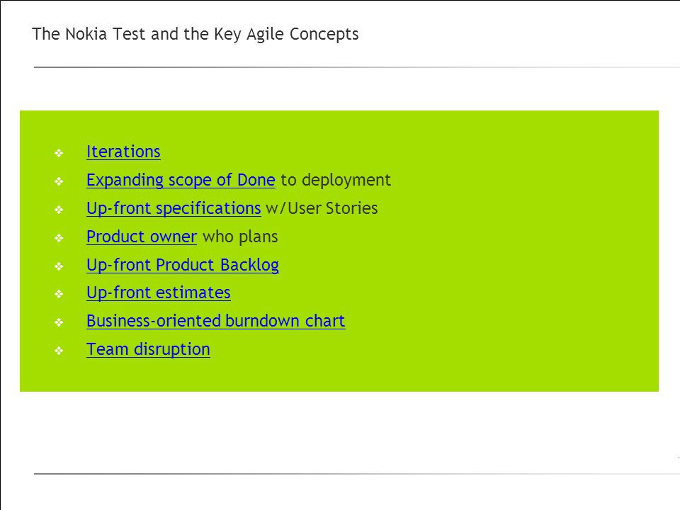 The Nokia Test and the Key Agile Concepts