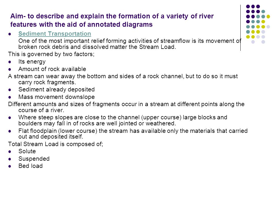 Aim- to describe and explain the formation of a variety of river features with the aid of annotated diagrams