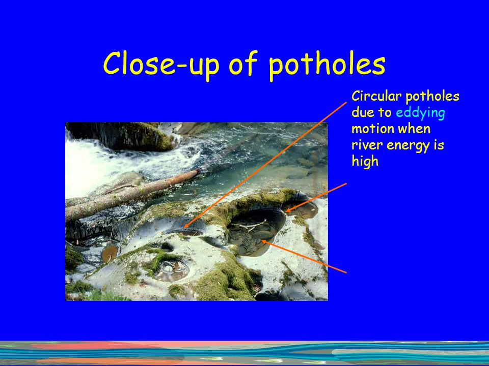 Close-up of potholes Circular potholes due to eddying motion when river energy is high