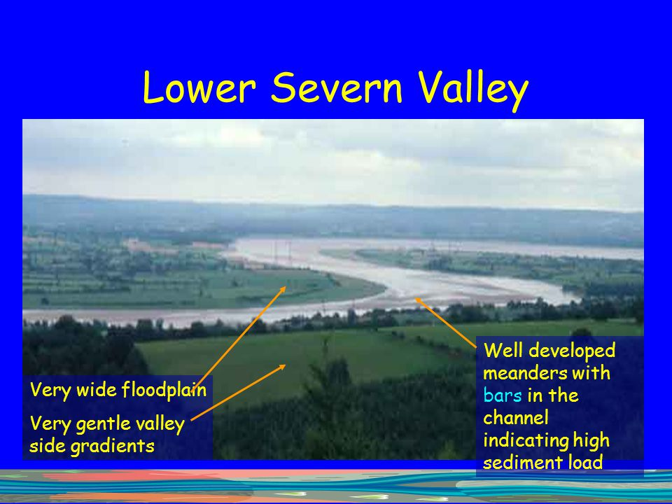 Lower Severn Valley Well developed meanders with bars in the channel indicating high sediment load.