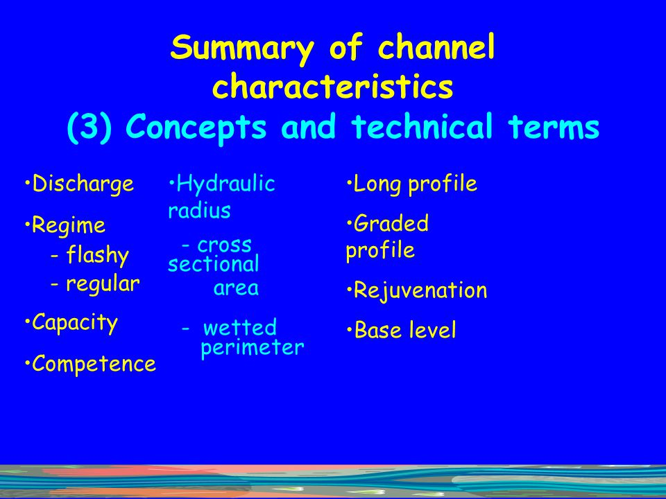 Summary of channel characteristics (3) Concepts and technical terms