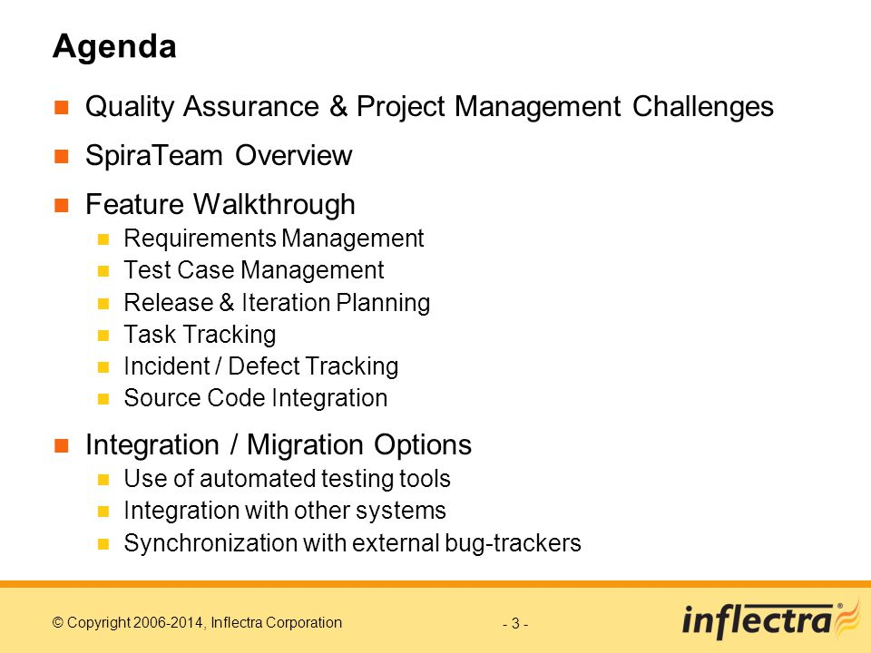Agenda Quality Assurance & Project Management Challenges